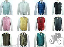 MEN'S XS to 6XL Paisley Tuxedo Suit Dress Vest Waistcoat & Neck tie Wedding Prom