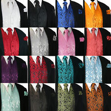 XS to 6XL Men's Paisley Dress Vest Waistcoat & Necktie Set for Suit or Tuxedo