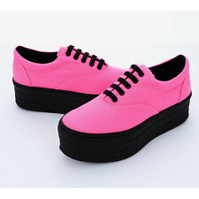 New Women's Canvas Neon Shoes Platform Lace up Wedge Fashion Sneakers_3 Colors