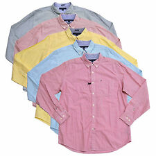 Tommy Hilfiger Mens Buttondown Shirt Classic Fit Striped Long Sleeve Logo New