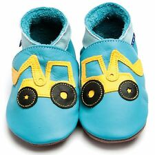 Inch Blue Girls Boys Luxury Leather Soft Sole Baby Shoes - Digger Turquoise