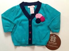 NWT Target Bright Blue Cardigan Button Up Sweater Flowers Baby Girl 3 Months New