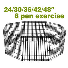 "24 30 36 42 48"" Black Exercise 8 Panels Play Pen Dog Crate Kennel Playpen Fence"