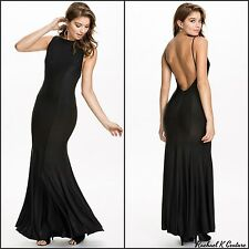 Sexy New Plus Size Scoop Neck Long Maxi Black Backless Evening Formal Dress 8-18