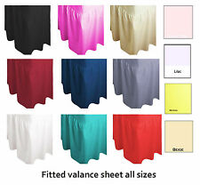 New Plain Dyed Fitted Valance Sheet Poly-Cotton Sizes Single Double & King