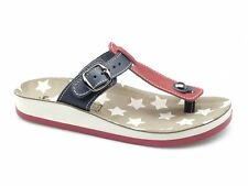 Fantasy Sandals NAXOS Womens Ladies Soft Toe Post Summer Buckle Sandals Red/Blue