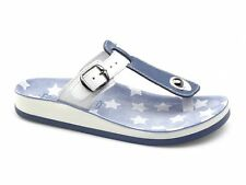 Fantasy Sandals NAXOS Womens Ladies Toe Post T-Strap Casual Sandals Blue & White