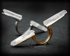 FUSION - RAW QUARTZ Double Ring - Natural Stone Ring Size 8