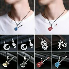 Men Women Stainless Steel Silver Heart Love Symbol Pendant Leather Necklace Gift