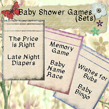 Print Your Own Baby Shower Games - Dictionary/Newspaper-Bingo/Wishes/Memory, etc