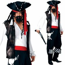 Adult Large Pirate Man New Fancy Dress Costume Caribbean Buccaneer Mens Gents