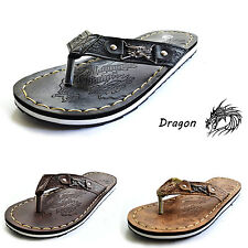 New Men's Flip Flops Thong Sandals Slippers Shoes Tan/Brown/Black - Dragon