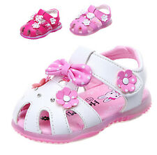 Lovely Princess Toddler Girl Sandal Velcro Flower Baby Shoes Leather Light Up