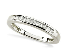 Pretty! 10K White Gold Princess-Cut White Diamond Anniversary Ring Band .19ct
