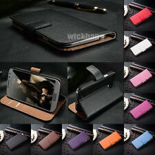 Genuine Real Leather Wallet Card Stand Flip Case Cover Skin for Samsung Galaxy