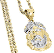 "Mens 1/20th 10k Yellow Gold Jesus Piece Face Pendant Charm & 20"" Rope Chain"