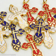 Russian Orthodox Cross * 10 High Quality Enamel Crosses *3 colors to choose from