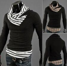 New Men's Casual Faux Twinset Highneck Plaid Sweater Knitwear Jumper Cardigan