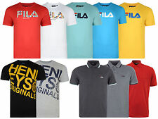 New Mens Fila Puma Henleys Polo T Shirt Tee Printed Logo Crew Neck Top