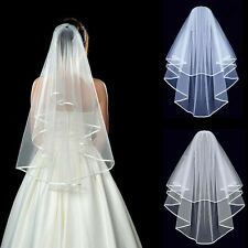 Charm Elegant 2T White or Ivory Wedding Bridal Elbow Satin Edge Veil With Comb