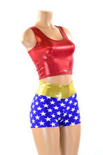 Wonder Woman Inspired Blue Star High Waist Shorts & Red Crop Top SET Costume NWT