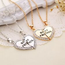 2PC Fashion Best Friends Heart Crystal Necklace Pendants For Sisters Boys Charms