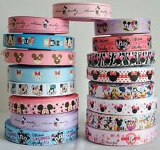 "Mixed Lot 17 yards 22mm 7/8"" Mickey Minnie Printed Grosgrain Ribbon DIY BOW KK6"