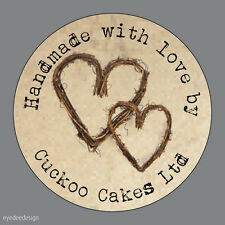 Personalised Handmade With Love Shabby Kraft Hearts Favours Labels Stickers-N488
