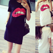 Summer Women Short Sleeve Sequins Lip Casual T-Shirt Long Tops Casual Mini Dress