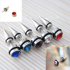 New 2pcs Crystal Stainless Steel Ear Stud Earrings Spike Men's Punk Cool Gothic