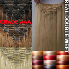 Blonde Black Clip In Remy Human Hair Extensions Full Head Double Weft 260g A105