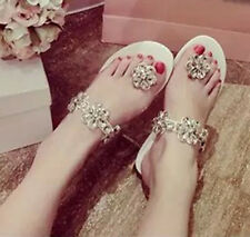 Womens Sandals large crystal Flats flip flop wedding shoes bridal glass slipper