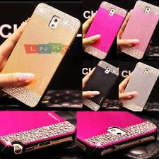 Bling Crystal Brushed Aluminum Metal Case PC Cover For SamsungGalaxyS4 5 6 Note4