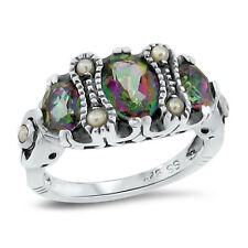 MYSTIC HYDRO QUARTZ & SEED PEARL ANTIQUE STYLE .925 STERLING SILVER RING,   #148