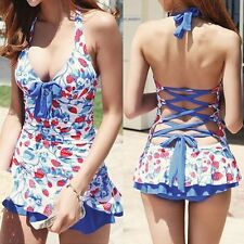 New Strawberry Halter Padded Swimwear Tankini Top With Attached Bottom Swimsuit