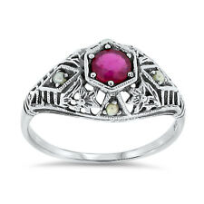 GENUINE RUBY & SEED PEARL ANTIQUE FILIGREE STYLE .925 STERLING SILVER RING,  #30