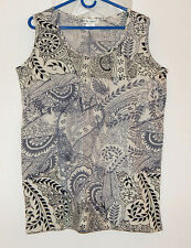 Black, White & Gray sleeveless print knit top - Ulla Popken NWT