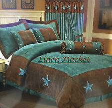 Embroidery Printed Turquoise Western Texas Star Comforter Suede - 7 Pieces Set