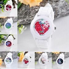 Women Silicone Rubber Jelly Pattern Quartz Analog Sports Wrist Watch Pop