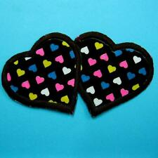Twin Heart Rainbow Love Iron on Sew Patch Applique Embroidered Cute Biker Baby