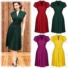 Ladies Vintage Retro 1940s Dress Womens Flared Skater Cocktail Party Dresses