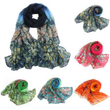 Flower Womens Ladies Voile Stole Scarves Long Neck Wraps Shawl Scarf Pop