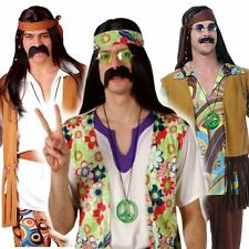 Mens Groovy Hippy Outfit 60s 70s Fancy Dress Hippie Adult Costume Woodstock Stag