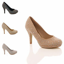 LADIES WOMANS COURT SHOES DIAMANTE HIGH HEEL BRIDAL WEDDING PARTY PLATFORM SIZE