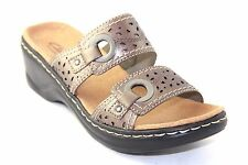 Clarks Lexi Laurel Womens Pewter Leather Slides Sandals Shoes 65790