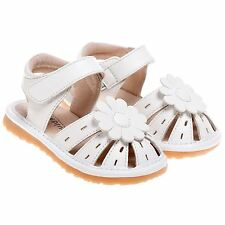 Girls Toddler Faux Leather Closed Toe Squeaky Sandals Shoes - White with Flower