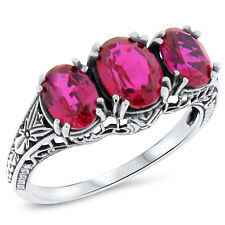 3.5 CARAT RED LAB RUBY .925 STERLING SILVER ANTIQUE ART DECO STYLE RING,    #417