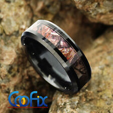 8mm Black Tungsten Carbide Men's Red Forest Camouflage Camo Hunting Band Ring