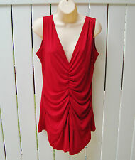 RED Party Top Tunic Ruched Long Control Shapewear Shape FX $109 NEW USA