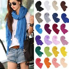 New Women Girls Pure Candy Colour Crinkle Long Soft Scarf Wrap Solid Shawl Stole